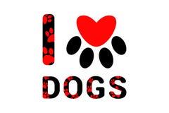 Я люблю текст собак черный с красными печатями лапки собаки или кота Оформление с печатью животной ноги Красное сердце внутри pr  бесплатная иллюстрация