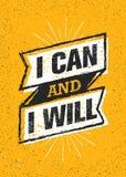Я могу и я буду Знамя цитаты мотивировки разминки оформления спортзала спорта Сильная концепция воодушевленности тренировки векто иллюстрация штока