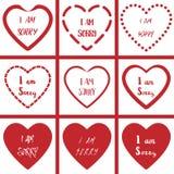 Я огорченн с символом формы сердца на белом комплекте предпосылки Стоковые Фотографии RF