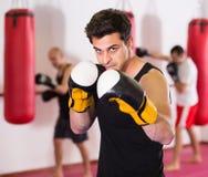 Ядреный спортсмен в зале бокса практикуя кладущ пунши в коробку Стоковые Изображения RF