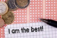 Я самый лучший билет лотереи lotto ручки и bingo стоковые фото