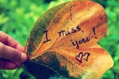 Я скучаю по вам на старых лист Стоковое Изображение