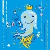 Я счастливая принцесса моря Эскиз с усмехаться рыб мультфильма иллюстрация вектора