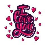я тебя люблю Вдохновляющий плакат мотивировки литерности руки на день валентинок Стоковое Изображение