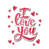 я тебя люблю Вдохновляющий плакат мотивировки литерности руки на день валентинок Стоковые Фото