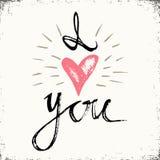 Я ТЕБЯ ЛЮБЛЮ литерность руки - handmade каллиграфия, предпосылка оформления Вручите вычерченному плакату оформления совершенный д Стоковые Фото