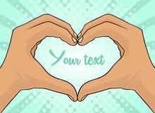 я тебя люблю Предпосылка искусства шипучки голубая с руками ` s людей с знаком сердца Vector красочной иллюстрация нарисованная р иллюстрация штока