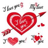Я тебя люблю - романтичные элементы вектора для дизайна с оформлением бесплатная иллюстрация