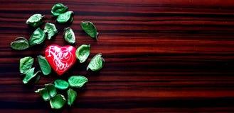 Я тебя люблю сердце и листья Стоковое фото RF