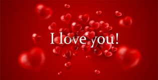 Я тебя люблю сообщение с красными сердцами Стоковые Изображения RF