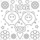 я тебя люблю Страница расцветки Черно-белая иллюстрация вектора стоковое изображение