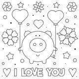 я тебя люблю Страница расцветки Черно-белая иллюстрация вектора стоковые изображения
