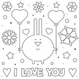 я тебя люблю Страница расцветки Черно-белая иллюстрация вектора стоковые фотографии rf