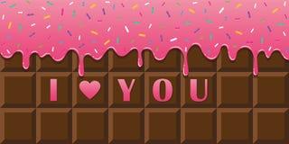 Я тебя люблю шоколадный батончик с розовой плавя поливой и красочное брызгают иллюстрация штока