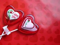 Я тебя люблю lollipops сахара Валентайн Стоковые Изображения RF