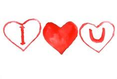 Я тебя люблю значок, картина акварели Стоковая Фотография