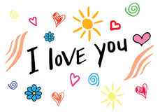 Я тебя люблю литерность руки, handmade каллиграфия рука нарисованная doodles Стоковая Фотография