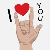Я тебя люблю иллюстрация вектора сигнала рукой Стоковые Изображения