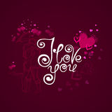 я тебя люблю Карточка вектора с сердцами и стильной каллиграфией Стоковые Фото