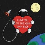 Я тебя люблю к карточке цитаты луны и задней части Стоковая Фотография RF
