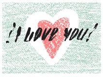 Я тебя люблю нарисованная рукой карточка писем Стоковые Изображения RF