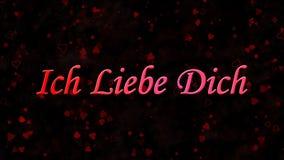 Я тебя люблю отправьте СМС в немце Ich Liebe Dich на темной предпосылке Стоковое фото RF