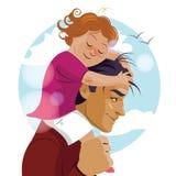 Я тебя люблю, папа День отца Папа носит его дочь на его Стоковое фото RF