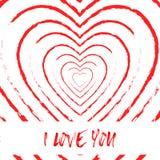 Я тебя люблю предпосылка стиля grunge сердца крови Стоковые Фото