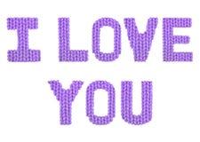я тебя люблю Пурпур цвета Стоковые Фото