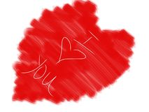 Я тебя люблю рука нарисованная на цифровых средствах массовой информации Стоковое Изображение