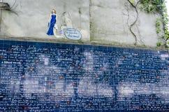 Я тебя люблю стена, Montmartre, Париж, Франция Стоковая Фотография RF