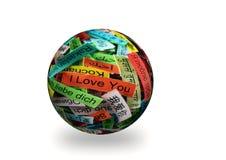 Я тебя люблю сфера 3d Стоковое Изображение