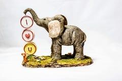 Я тебя люблю слон Стоковое Изображение