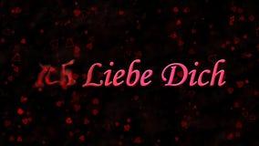 Я тебя люблю текст в немце Ich Liebe Dich поворачивает к пыли от левой стороны на темной предпосылке Стоковые Изображения
