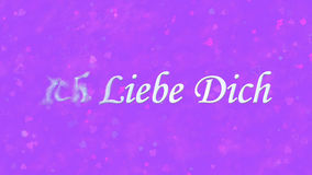Я тебя люблю текст в немце Ich Liebe Dich поворачивает к пыли от левой стороны на фиолетовой предпосылке Стоковое Изображение