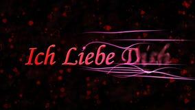 Я тебя люблю текст в немце Ich Liebe Dich поворачивает к пыли от право на темной предпосылки Стоковое Изображение