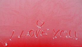 Я тебя люблю текст на замороженной поверхности Стоковое Изображение