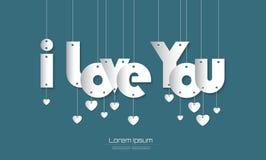 Я тебя люблю текст с стилем отрезка бумаги на зеленой предпосылке для yo Иллюстрация штока