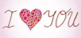 я тебя люблю I сердце вы Поздравительная открытка дня валентинок с каллиграфией на розовой предпосылке нарисованная конструкцией  Стоковые Изображения RF