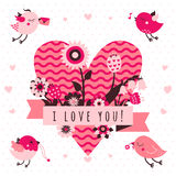 Я тебя люблю vector карточка (предпосылка) в светлых и темных розовых и коричневых цветах с птицами и сердцем Стоковые Изображения RF