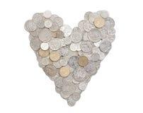 Я люблю деньги в австралийских монетках Стоковая Фотография