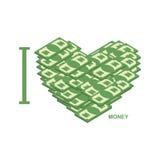 я люблю деньги Символ сердца долларов Иллюстрация наличных денег t Стоковые Изображения