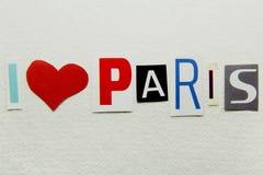 Я люблю знак Парижа Стоковые Изображения