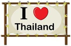 Я люблю знак Таиланда Стоковое Изображение