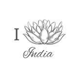 Я люблю Индию Печать вектора нарисованная рукой схематическая внезапный тип эскиза света компьтер-книжки Lotus йога бесплатная иллюстрация