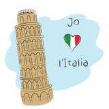 Я люблю Италию Иллюстрация штока