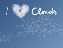 Я люблю карточку облаков Стоковые Изображения