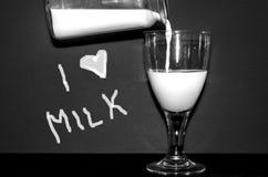 Я люблю молоко стоковое изображение