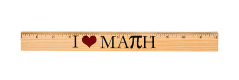 Я люблю правителя математики Стоковое Изображение