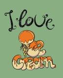 Я люблю плакат мороженого ретро Стоковые Фотографии RF